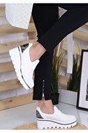 DOCKA Kadın Beyaz Dolgu Topuk Spor Tarz Ayakkabı