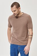 Altınyıldız Classics Erkek Vizon 360 Derece Her Yöne Esneyen Slim Fit %100 Koton Triko Tişört