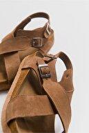 luvishoes 201 Hakiki Deri Camel Süet Kadın Sandalet