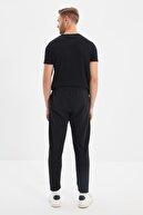 TRENDYOL MAN Siyah Erkek Regular Fit Beli Lastikli Baskılı Yeni Eşofman Altı TMNAW20EA0124