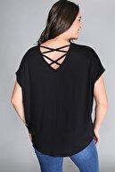 Moda Cazibe Kadın Sırt Çapraz Kısa Kol Bluz M9145