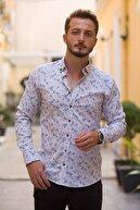 Etikmen Erkek Hardal Lacivert Çiçek Baskılı Gömlek