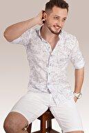 Etikmen Erkek Gri Yazılı Beyaz Keten Gömlek