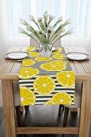 Cango Home Beyaz Sarı Limon Desenli Dijital Baskılı Runner - Oytyk918-rn
