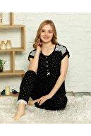 Mihra Stil Kadın  Yazlık Kısa Kollu Viskon Pijama Takımı