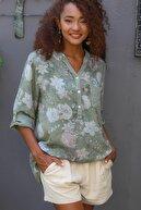 Chiccy Kadın Haki Italyan Gül Desenli Patı Ve Cebi Pul Dokuma Uzun Kol Ayar Düğmeli Bluz M10010200bl95057