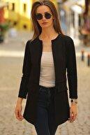 armonika Kadın Siyah Beli Dikişli Uzun Ceket ARM-20K001021