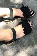 Mısra sandalet Kadın Siyah Püsküllü Sandalet