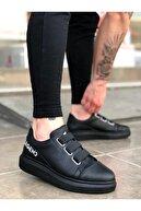 TrendSatıcı Er0029 3 Bant Legend Siyah Kalın Taban Casual Erkek Ayakkabı