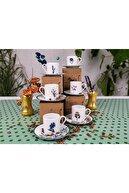 Porland Flower Garden Kahve Fincan Takımı 6 Kişilik 12 Parça 90cc