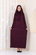 Bemol Pratik Rahat Tek Parça Namaz Elbisesi Mürdüm