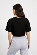 Arma Life Kadın Siyah Bisiklet Yaka Düşük Kol Crop T-shirt