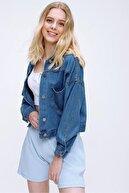 PinkPark Kadın Koyu Mavi Crop Denim Ceket Smd-x3631-rv