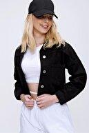 PinkPark Kadın Siyah Crop Denim Ceket Smd-x3631-rv