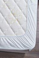 LadyModa Çift Kişilik %100 Pamuklu Penye Lastikli Çarşaf | Beyaz