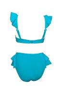 Endeep Kız Çocuk Mavi Aksesuar Detaylı Volanlı Bikini Takımı