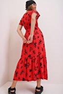 Trend Alaçatı Stili Kadın Kırmızı Çiçek Desenli Kruvaze Maxı Boy Elbise ALC-X4373