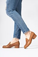 CZ London Hakiki Deri Topuklu Loafer Yuvarlak Burun Ayakkabı
