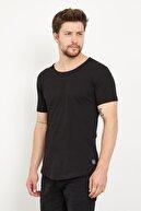 westkombin Erkek Siyah Pis Yaka Basic T-Shirt