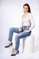 CZ London Hakiki Deri Kadın Alçak Topuk Stiletto Sivri Burun Ayakkabı