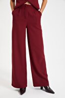 TRENDYOLMİLLA Bordo Geniş Paça Pantolon TWOSS21PL0189