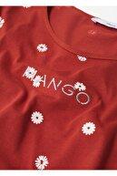 Mango Kadın Kırmızı Geri Dönüştürülmüş Pamuklu Logolu Tişört
