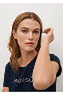 Mango Kadın Lacivert Organik Pamuklu Logolu Tişört