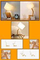 DOYAL Oturan Adam Masa Lambası Ahşap Gece Lambası Kitaplıklı Masa Lambası Abajur
