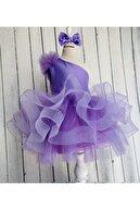 ELLUSSİ Kız Çocuk Lila Saten Parla Grenli Tek Omuz Kabarık Elbise