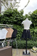 BİOVADİ Petrark Kadın Bej Beli Ip Detaylı Crop Kesim Esnek Kumaş T Shirt