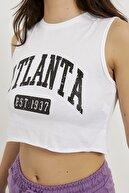 Arma Life Kadın Beyaz Atlanta Baskı Kolsuz Crop T-shirt