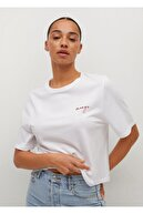 Mango Kadın Beyaz %100 Geri Dönüştürülmüş Pamuklu Tişört