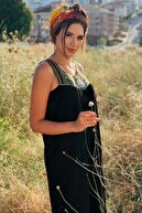 U&T Woman Kadın Siyah Nakış Detay Salaş Uzun Viskon Kumaş Dokuma Elbise