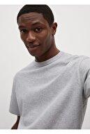 Mango Erkek Orta Kırçıllı Gri Relaxed Kesim Pamuklu Tişört