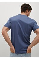 Mango Erkek Mavi Sürdürülebilir Pamuklu Basic Tişört