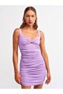 Dilvin Kadın Lila Büzgü Detaylı Elbise