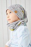 Babygiz Erkek Çocuk Gri Figürlü 4 Mevsim Bere Boyunluk Takım Yumuşak Doğal %100 Pamuklu Penye