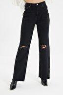 TRENDYOLMİLLA Siyah Yırtık Detaylı Yüksek Bel Wide Leg Jeans TWOAW21JE0539