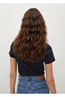 Mango Kadın Lacivert Geri Dönüştürülmüş Pamuklu Logolu Tişört