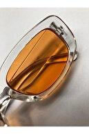 LOOKUP Unisex Turuncu Kare Dikdörtgen Vintage Retro Güneş Gözlüğü