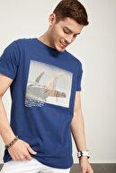 Tena Moda Erkek Indigo Bisiklet Yaka Sörf Baskılı Tişört