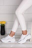Weynes Kadın Beyaz Yüksek Taban Spor Ayakkabı Ba21004
