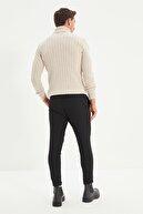 TRENDYOL MAN Siyah Erkek Beli Lastikli Slim Fit Pantolon TMNAW21PL0107