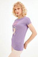 Fullamoda Kadın Lila Coffee Baskılı T-shirt