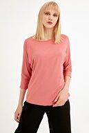 Fullamoda Kadın Gül Rengi Yarasa Kol Bluz