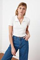 TrendNera Polo Yaka Crop Fitilli Örme Bluz