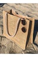 Netfikir Kadın Kahverengi Hasır Yuvarlak İp Askılı Plaj Çantası