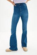 TRENDYOLMİLLA Lacivert Yüksek Bel Flare Jeans TWOSS21JE0246