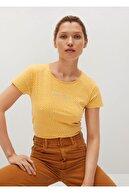 Mango Kadın Hardal Rengi Geri Dönüştürülmüş Pamuklu Logolu Tişört