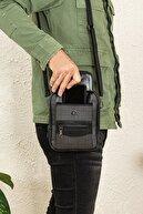 Av A Dos Erkek Siyah Telefon Bölmeli Çelik Kasalı Deri Ayarlanabilir Askılı El Omuz Çanta Orta Boy